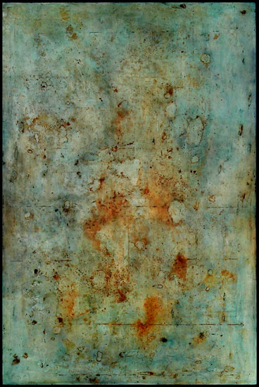 Tanya Bonello, Rust and Indigo, 1155x770mm, gypsum, rust and oil on board, 2004