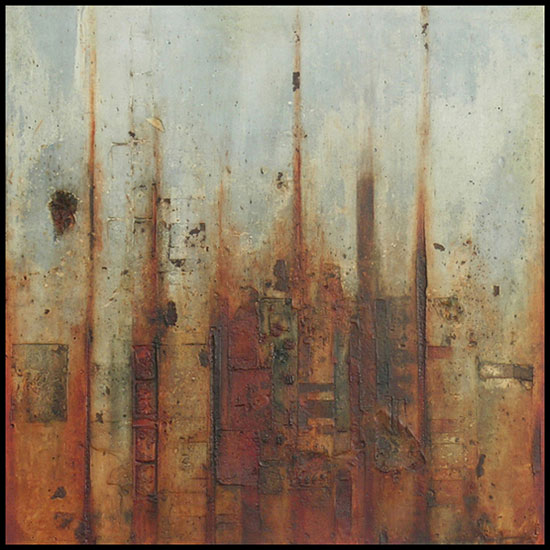 Tanya Bonello, Dawn, 1000x1000mm, gypsum and oil on board, 2003