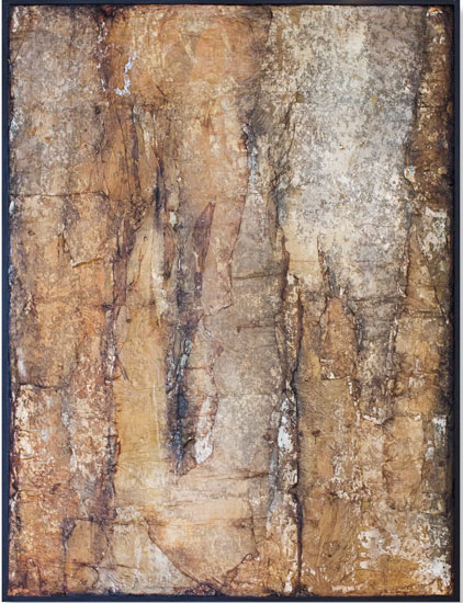 Tanya Bonello, Thermal series, No 30, 600x450mm, gypsum, found papermatter, polyurethane and oil on board, 2002